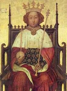 Ricardo II (1376-1399). Comenzó a reinar con diez años y su tutela fue disputada entre sus tíos y los nobles. Fue depuesto por su primo Enrique de Bolingbroke tras desheredarle. Abadía de Westminster, anónimo.